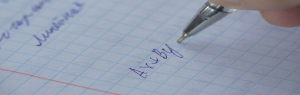 Função escrita em folha de caderno
