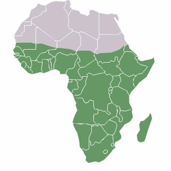 Mapa da África Negra ou Subsaariana, que ocupa cerca de 70% do continente africano