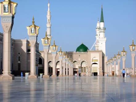 <i>Suntuosidade da Mesquita do Profeta Al-Masjid al-Nabawi, em Medina, Arábia Saudita</i>