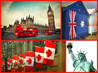 Londres, Austrália, Canadá e Estados Unidos: Países que falam inglês.
