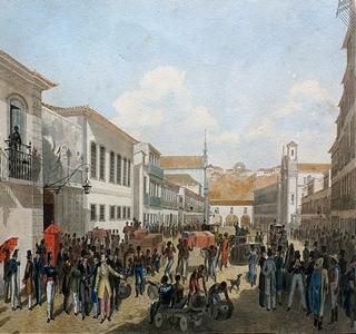Rua Direita, no Rio de Janeiro, em pintura de Félix Taunay (1795-1881)