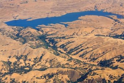 Visão aérea de uma bacia hidrográfica
