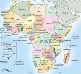 Mapa político do continente africano.