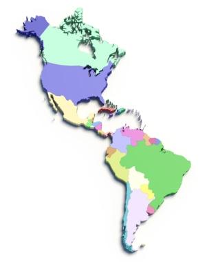 O continente americano é dividido regionalmente obedecendo a diferentes critérios