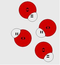 Moléculas do ânion hidróxido (OH1-), presentes em todas as bases.