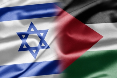 As bandeiras, respectivamente, de Israel e da Palestina