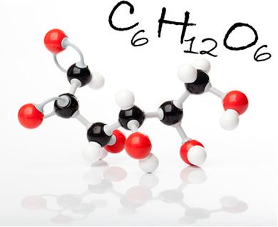 Molécula de glicose e sua fórmula molecular. Na figura, as bolas pretas são os carbonos, as brancas, os hidrogênios; e as vermelhas, os oxigênios
