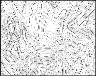 Mapa em curvas de nível indicando a topografia de um terreno