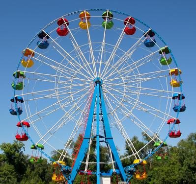 Momento de inércia é uma propriedade dos corpos em movimento circular, como a roda gigante de um Parque de Diversões