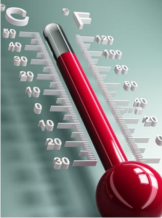 A ilustração mostra duas escalas termométricas em que a temperatura pode ser medida: a escala Celcius e a escala Fahrenheit