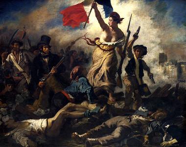 O quadro acima, pintado por Eugène Delacroix, retrata as barricadas levantadas na França em 1830