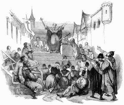 Imagem de Pedro, o eremita, convocando a Cruzada dos Mendigos, movimento popular que antecedeu a Primeira Cruzada