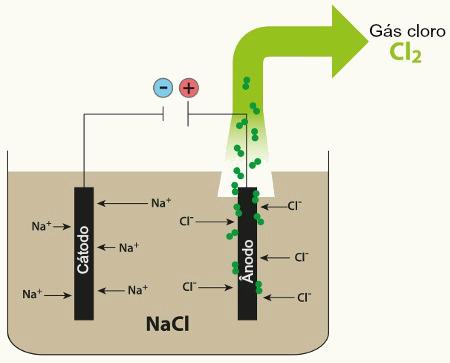 Representação do sistema eletrolítico com o NaCl