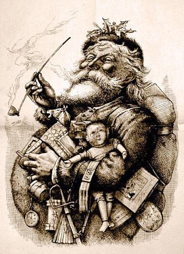 Caricatura do Papai Noel, feita por Thomas Nast (1840-1902), para a revista Harper's Weekly.