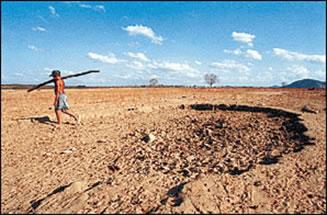 Área afetada pelo processo de desertificação.