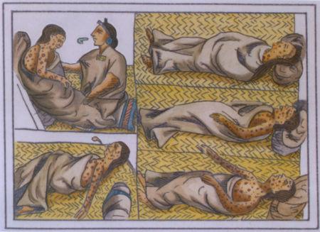 A varíola foi introduzida entre os astecas no contato com os espanhóis em 1520