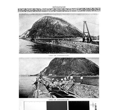 Construção do cais da Urca em foto publicada na Revista Kosmos, Março de 1908. Os portos estavam também no alvo da reurbanização do Rio
