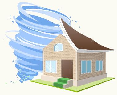 A velocidade dos ventos nos furacões diminui a pressão na região do telhado, e a diferença de pressão que se estabelece arranca o teto das casas