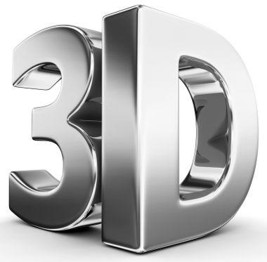 3D: Número de dimensões do espaço. Observe que essas letras possuem profundidade