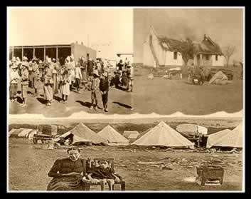 Guerra dos Bôeres: à esquerda e acima, mulheres e crianças nos campos de concentração; à direita, fazenda Bôer destruída; e, na imagem abaixo, mulher