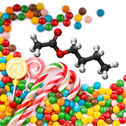 Muitos ésteres, como o etanoato de butila (essência de maça verde), são usados como flavorizantes em balas e doces