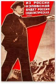 """Cartaz soviético da NEP: """"O capitalismo a serviço do comunismo""""."""