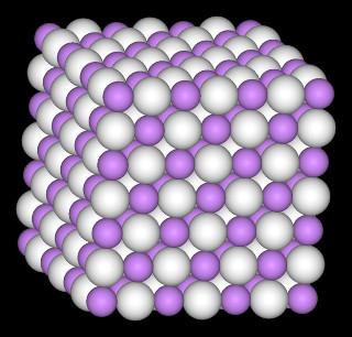 Ilustração de estrutura cristalina do hidreto de lítio (LiH)