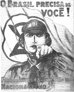 Cartaz integralista convocando para o movimento nacionalista