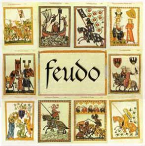 Ilustração contendo os principais personagens do Regime Feudal: os suseranos e os vassalos.