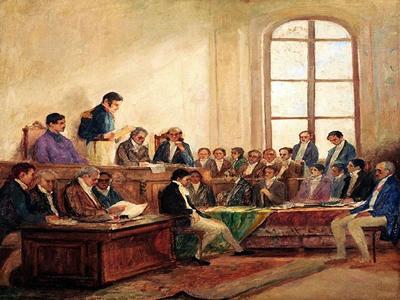Tela de Antônio Parreiras (1860-1937) representando a fundação do Rio de Janeiro, que se tornou autônomo da província com o Ato Adicional de 1934.*