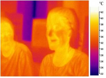 Imagem ilustrando a radiação infravermelha emitida pelas pessoas e pelo ambiente.