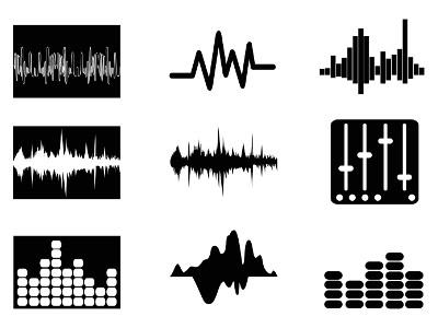 Diferentes ícones de representação de ondas sonoras