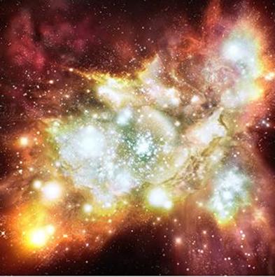 Conjunto de estrelas recém-formadas que contém um milhão de estrelas brancas e azuis duas vezes mais quentes do que as estrelas na nossa vizinhança